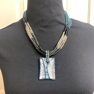 Necklace, beaded with beautiful center piece